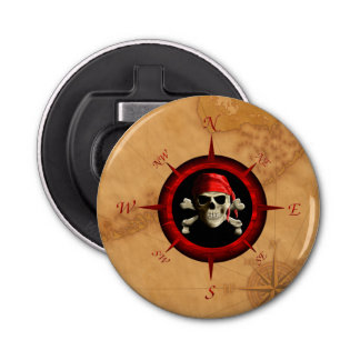 Pirate Compass Rose And Map Bottle Opener