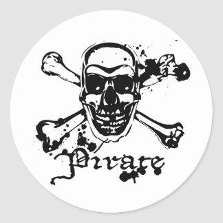 Pirate Cross Bones Round Sticker
