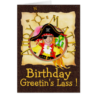 Pirate custom photo birthday card