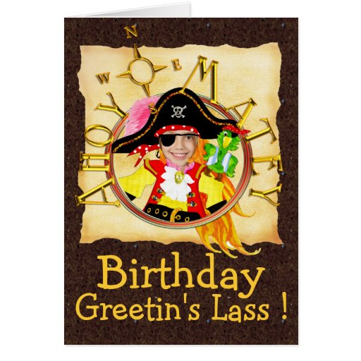 Pirate custom photo birthday card