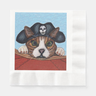 Pirate Cute Surprised Brown Striped Cat Paper Serviettes