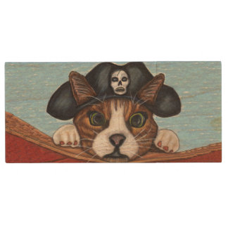 Pirate Cute Surprised Brown Striped Cat Wood USB 2.0 Flash Drive