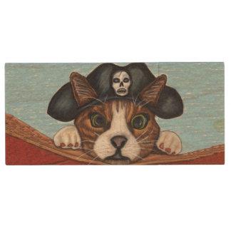 Pirate Cute Surprised Brown Striped Cat Wood USB Flash Drive