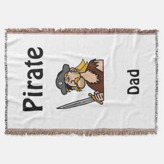 Pirate Dad with Funny Cartoon and Sword Throw Blanket