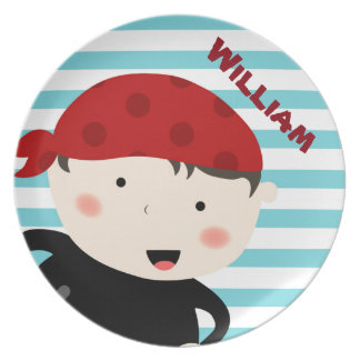 Pirate design with striped background plate