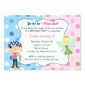 Pirate Fairy Birthday Invitation Pink Blue Pixie