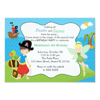 Pirate Fairy Pixie Kids Birthday Party Card