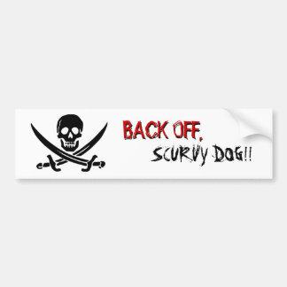 """Pirate Flag """"Back Off"""" Bumper Sticker"""