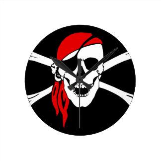 Pirate Flag Bones Skull Danger Symbol Round Clock
