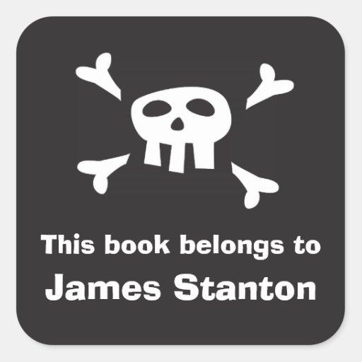 Pirate flag bookplate sticker/book label for boys
