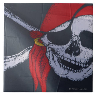 Pirate flag large square tile