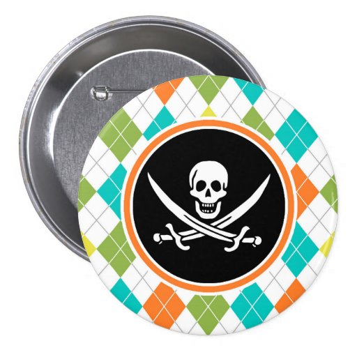 Pirate Flag on Colorful Argyle Pattern Button
