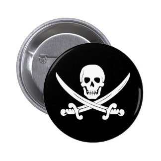 Pirate Flag Skull and Crossbones Jolly Roger Gift Button