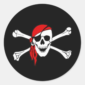 Pirate Flag Skull and Crossbones Jolly Roger Round Sticker