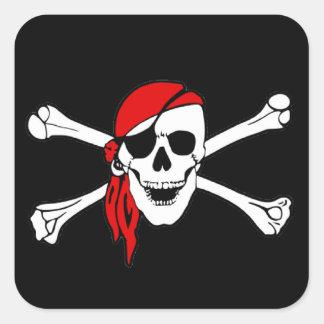 Pirate Flag Skull and Crossbones Jolly Roger Square Sticker