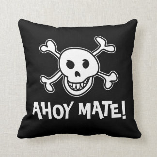 Pirate flag skull and crossbones throw pillow