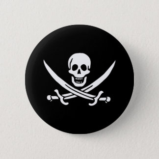 Pirate Flag Skull and Crossed Swords Jolly Roger 6 Cm Round Badge