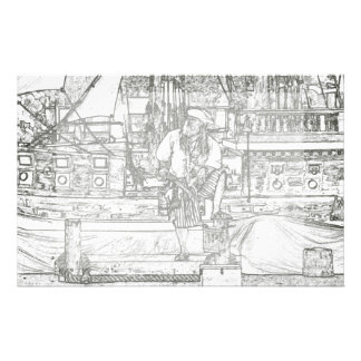 pirate foot up over sketched image stationery