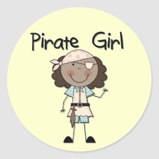 Pirate Girl African American Tshirts and Gifts Classic Round Sticker