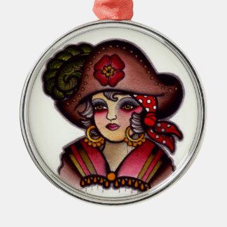 Pirate girl metal ornament