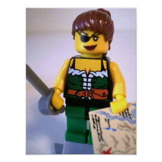 Pirate Girl Minifig with Treasure Map Poster