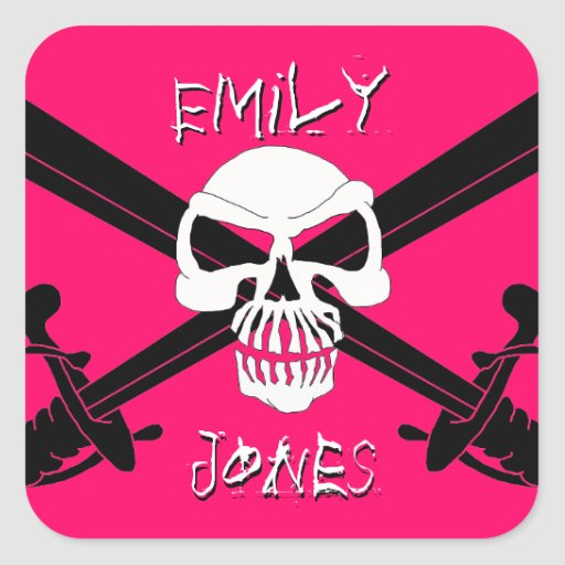 """""""Pirate Girl"""" Personalized Jolly Roger Stickers"""