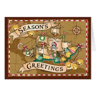 Pirate Greetings Yo Ho Ho Holiday Gingerbread Ship Card