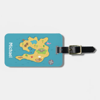 Pirate Island Adventure Treasure Map For Boys Luggage Tag