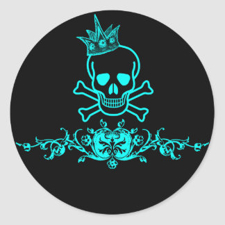 Pirate Jolly Roger Crowned Skull Neon Blue Black Stickers