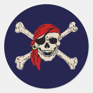 Pirate, Jolly Roger, Skull Classic Round Sticker