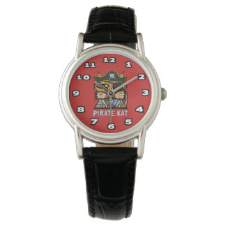 """Pirate Kat"" Classic Womens Black Leather Wristwatch"