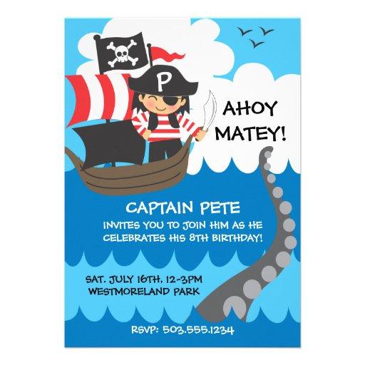 Pirate Kid Birthday Invitations