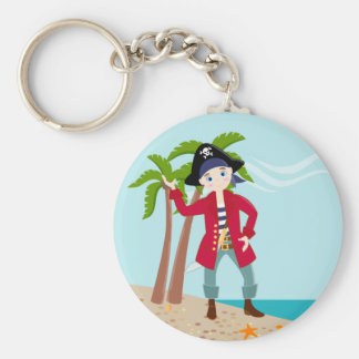 Pirate kid birthday party basic round button key ring