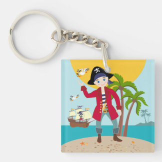 Pirate kid birthday party Double-Sided square acrylic key ring
