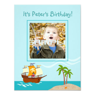 Pirate kid birthday party invitation
