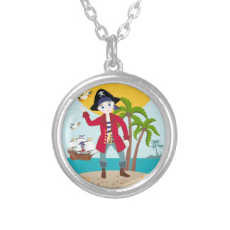 Pirate kid birthday party round pendant necklace