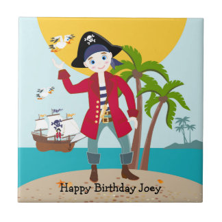 Pirate kid birthday party small square tile