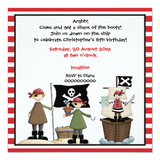 Pirate kids birthday party invitation- red border 13 cm x 13 cm square invitation card
