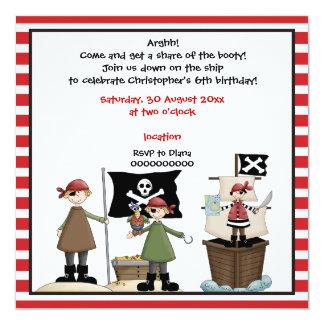 Pirate kids birthday party invitation- red border 13 cm x 13 cm square invitation card