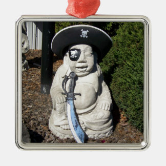 Pirate Laugh Buddha Silver-Colored Square Decoration