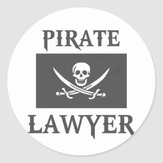 Pirate Lawyer Round Sticker