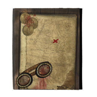 Pirate Map, Gold Coins and iPad Folio Cover