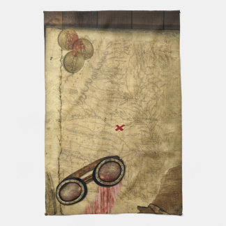 Pirate Map, Gold Coins and Kitchen Towel