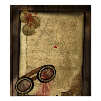 Pirate Map, Gold Coins and Poster