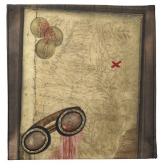 Pirate Map, Gold Coins and Printed Napkin