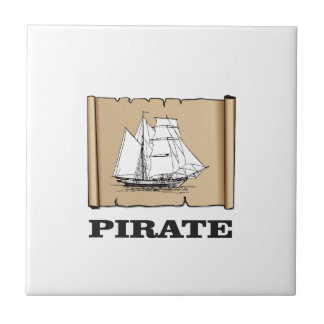 pirate map with boat small square tile