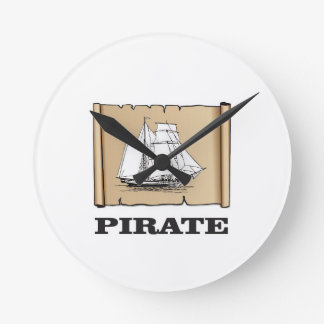 pirate map with boat wallclock