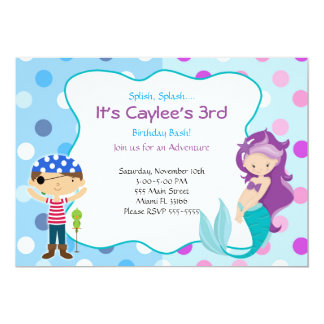 Pirate Mermaid Invitation Kids Birthday Party