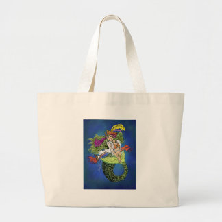 Pirate Mermaid Large Tote Bag