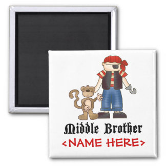 Pirate Middle Brother Square Magnet